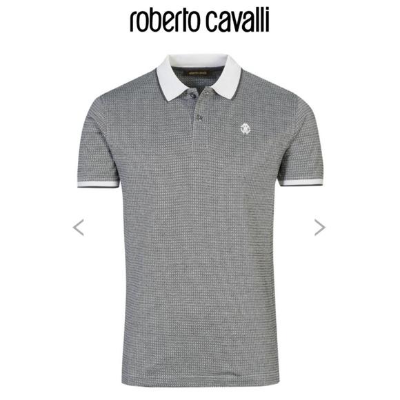 829b9bc0 Roberto Cavalli | Gray Polo Jacquard Logo Shirt. Listing Price: $42.00